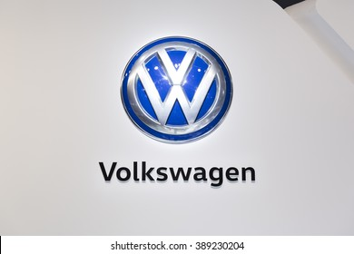 GENEVA, SWITZERLAND MARCH 2, 2016: A Volkswagen sign at the Geneva Motor Show. The Volkswagen Group is one of the worlds leading automobile manufacturers and the largest carmaker in Europe.