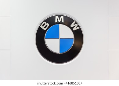 GENEVA, SWITZERLAND - MARCH 2, 2016: A BMW sign at the Geneva Motor Show.