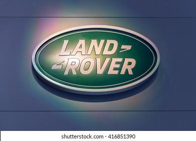 GENEVA, SWITZERLAND - MARCH 2, 2016: A Land-Rover sign at the Geneva Motor Show.
