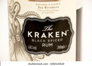 Geneva / Switzerland - March 20 2018 : Kraken spiced rum black ocotpus logo editorial use only