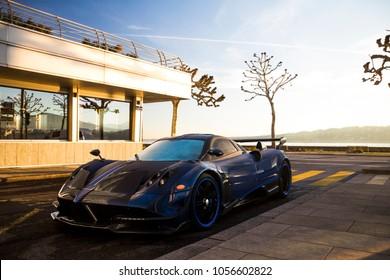 Geneva, Switzerland - March 2018: Pagani Huayra BC Macchina Volante hypercar parked at a luxury hotel in central Geneva.