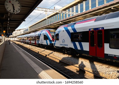 Geneva , Switzerland - March 25, 2019: a station of The Léman Express. A commuter rail network for the transborder agglomeration of Greater Geneva and the French Alps (Haute-Savoie)