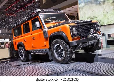 GENEVA, SWITZERLAND - MARCH 3, 2015: Land Rover Defender at the 85th International Geneva Motor Show in Palexpo, Geneva.