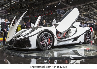GENEVA, SWITZERLAND - MARCH 3, 2015: The GTA Spano, the first super sportcar to incorporate graphene, launched at the 2015 Geneva Motor Show. It has a limited production of 99 vehicles.