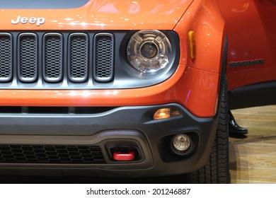GENEVA, SWITZERLAND - MARCH 4, 2014: 2014 Jeep Renegade presented at the 84th International Geneva Motor Show on March 4, 2014 in Palexpo, Geneva, Switzerland