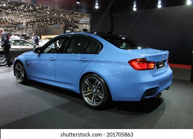GENEVA, SWITZERLAND - MARCH 4, 2014: 2014 BMW M3 presented at the 84th International Geneva Motor Show on March 4, 2014 in Palexpo, Geneva, Switzerland