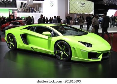 GENEVA, SWITZERLAND - MARCH 4, 2014: 2014 Fab Design Lamborghini Aventador presented at the 84th International Geneva Motor Show on March 4, 2014 in Palexpo, Geneva, Switzerland