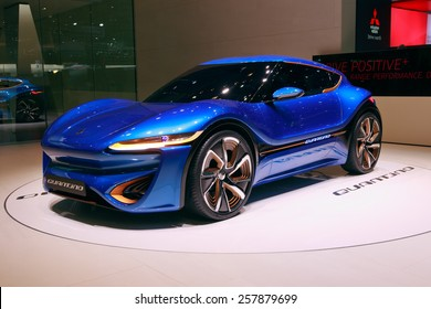 GENEVA, SWITZERLAND - MARCH 4, 2015: NanoFlowcell Quant F Quantino concept car at the 85th International Geneva Motor Show in Palexpo.