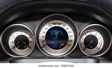 GENEVA, SWITZERLAND - MARCH 4, 2015: Mercedes E220 BlueTEC dashboard gauges at the 85th International Geneva Motor Show in Palexpo.