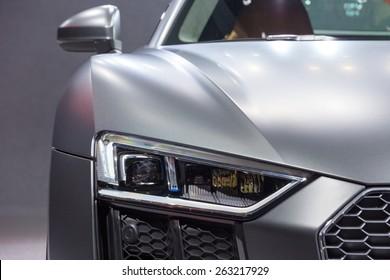 GENEVA, SWITZERLAND - MARCH 4, 2015: Official debut of the New Audi R8 V10 Plus at the 85th International Geneva Motor Show in Palexpo, Geneva.