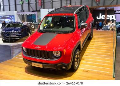 GENEVA, SWITZERLAND - MARCH 4, 2015: Jeep Renegade Trail Hawk Diesel debut at the 85th International Geneva Motor Show in Palexpo, Geneva.