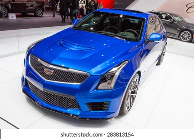 GENEVA, SWITZERLAND - MARCH 4, 2015: European premiere of the Cadillac ATS-V at the 85th International Geneva Motor Show in Palexpo.