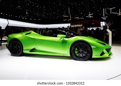 GENEVA, SWITZERLAND - MARCH 5, 2019: New 2019 Lamborghini Huracan Evo Spyder supercar debuts at the 89th Geneva International Motor Show.
