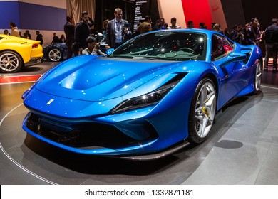 GENEVA, SWITZERLAND - MARCH 5, 2019: Ferrari F8 Tributo supercar unveiled at the 89th Geneva International Motor Show.