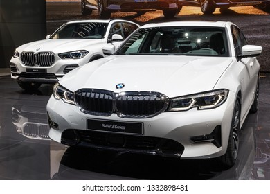 GENEVA, SWITZERLAND - MARCH 5, 2019: New BMW 3 Series car showcased at the 89th Geneva International Motor Show.