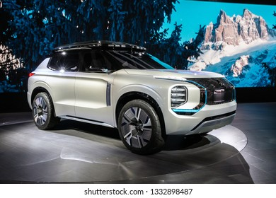 GENEVA, SWITZERLAND - MARCH 5, 2019: Mitsubishi Engelberg Tourer Concept car debuts at the 89th Geneva International Motor Show.