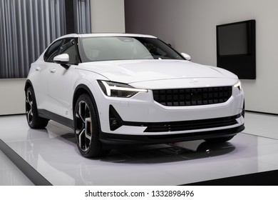 GENEVA, SWITZERLAND - MARCH 5, 2019: All-electric Polestar 2 car unveiled at the 89th Geneva International Motor Show.