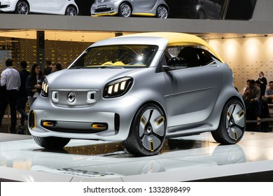 GENEVA, SWITZERLAND - MARCH 5, 2019: Electric Smart Forease + concept car showcased at the 89th Geneva International Motor Show.