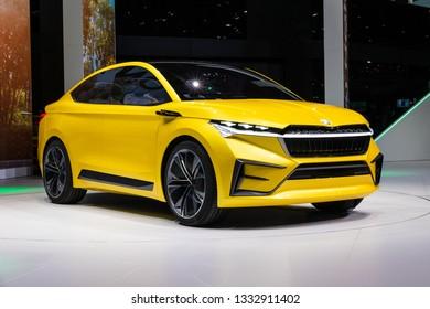 GENEVA, SWITZERLAND - MARCH 5, 2019: Skoda Vision iV concept car reveiled at the 89th Geneva International Motor Show.