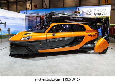 GENEVA, SWITZERLAND - MARCH 5, 2019: PAL-V Liberty flying car showcased at the 89th Geneva International Motor Show.