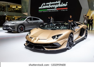 GENEVA, SWITZERLAND - MARCH 5, 2019: Lamborghini Aventador SVJ Roadster sports car debut at the 89th Geneva International Motor Show.