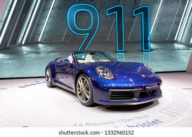 GENEVA, SWITZERLAND - MARCH 5, 2019: Porsche 911 Carrera S Cabriolet sports car debut at the 89th Geneva International Motor Show.