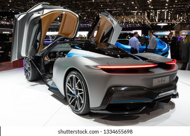GENEVA, SWITZERLAND - MARCH 5, 2019: All-electric Pininfarina Battista hypercar  showcased at the 89th Geneva International Motor Show.