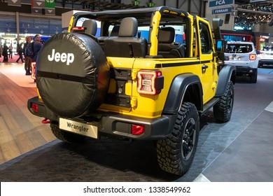 GENEVA, SWITZERLAND - MARCH 5, 2019: Jeep Wrangler Rubicon 4x4 carshowcased at the 89th Geneva International Motor Show.