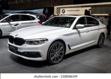 GENEVA, SWITZERLAND - MARCH 5, 2019: BMW 5 Series Berline car showcased at the 89th Geneva International Motor Show.