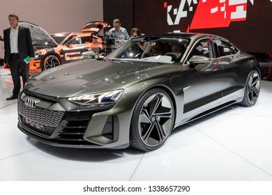 GENEVA, SWITZERLAND - MARCH 5, 2019: Audi E-Tron GT concept car showcased at the 89th Geneva International Motor Show.