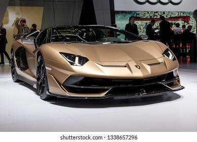 GENEVA, SWITZERLAND - MARCH 5, 2019: Lamborghini Aventador SVJ Roadster sports car debut at the 89th Geneva International Motor Show.