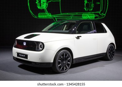 GENEVA, SWITZERLAND - MARCH 5, 2019: Honda e Prototype EV car revealed at the 89th Geneva International Motor Show.