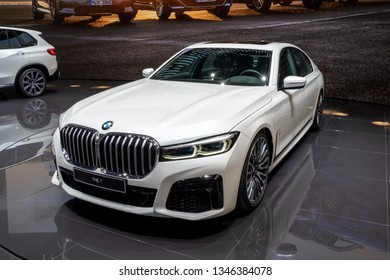 GENEVA, SWITZERLAND - MARCH 5, 2019: New BMW 7 Series plug-in hybrid car showcased at the 89th Geneva International Motor Show.