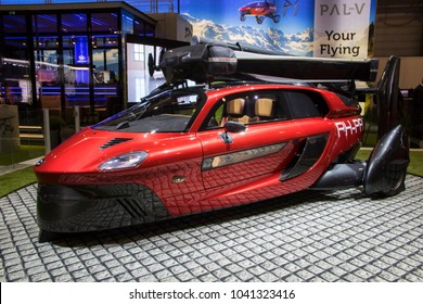 GENEVA, SWITZERLAND - MARCH 6, 2018: Pal-V Liberty flying car makes public debut at the 88th Geneva International Motor Show.