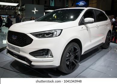 GENEVA, SWITZERLAND - MARCH 6, 2018: Ford Edge SUV car presented at the 88th Geneva International Motor Show.