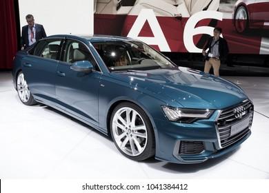 GENEVA, SWITZERLAND - MARCH 6, 2018: New 2018 Audi A6 saloon carpresented at the 88th Geneva International Motor Show.