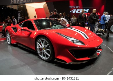 GENEVA, SWITZERLAND - MARCH 6, 2018: Ferrari 488 Pista sports car presented at the 88th Geneva International Motor Show.