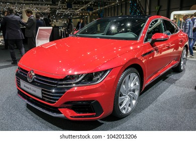 GENEVA, SWITZERLAND - MARCH 6, 2018: Volkswagen Arteon R-Line car showcased at the 88th Geneva International Motor Show.