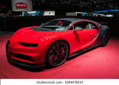 GENEVA, SWITZERLAND - MARCH 6, 2018: Bugatti Chiron Sport sports car showcased at the 88th Geneva International Motor Show.