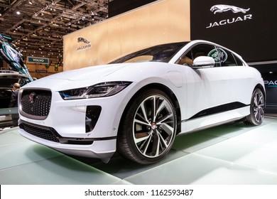 GENEVA, SWITZERLAND - MARCH 6, 2018: Jaguar I-Pace electric SUV car showcased at the 88th Geneva International Motor Show.