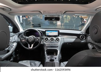 GENEVA, SWITZERLAND - MARCH 6, 2018: Interior view of the Mercedes Benz C-Class Hybrid car showcased at the 88th Geneva International Motor Show.