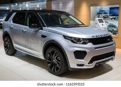 GENEVA, SWITZERLAND - MARCH 6, 2018: Land Rover Discovery SUV car showcased at the 88th Geneva International Motor Show.