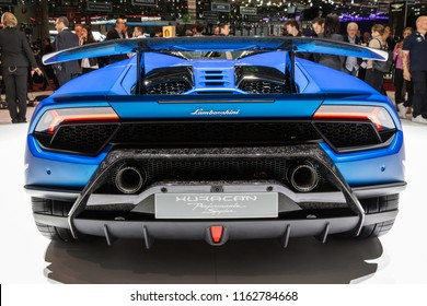 GENEVA, SWITZERLAND - MARCH 6, 2018: Lamborghini Huracan Performante Spyder sports car showcased at the 88th Geneva International Motor Show.