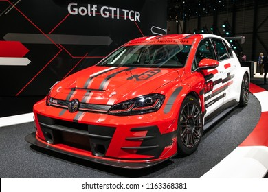 GENEVA, SWITZERLAND - MARCH 6, 2018: Volkswagen Golf GTI TCR sports car showcased at the 88th Geneva International Motor Show.