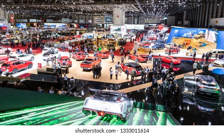 GENEVA, SWITZERLAND - MARCH 6, 2019: View of the 89th Geneva International Motor Show.