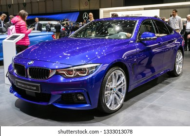 GENEVA, SWITZERLAND - MARCH 6, 2019: BMW 4 Series Gran Coupe car showcased at the 89th Geneva International Motor Show.