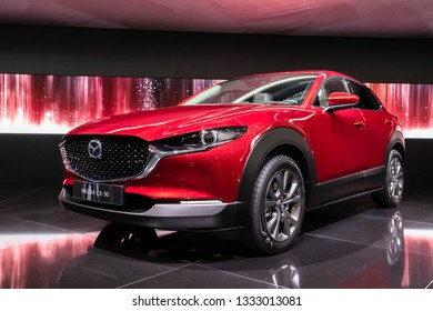 GENEVA, SWITZERLAND - MARCH 6, 2019: New Mazda CX-30 crossover car debuts at the 89th Geneva International Motor Show.