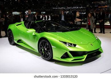 GENEVA, SWITZERLAND - MARCH 6, 2019: New 2019 Lamborghini Huracan Evo Spyder supercar debuts at the 89th Geneva International Motor Show.