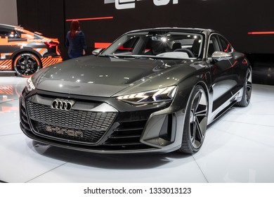 GENEVA, SWITZERLAND - MARCH 6, 2019: Audi E-Tron GT concept car showcased at the 89th Geneva International Motor Show.