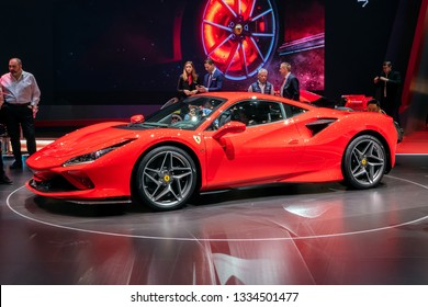 GENEVA, SWITZERLAND - MARCH 6, 2019: New Ferrari F8 Tributo sports car reveiled at the 89th Geneva International Motor Show.